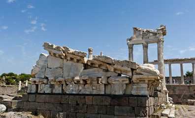 Detail of ancient ruins in Ephesus, Turkey