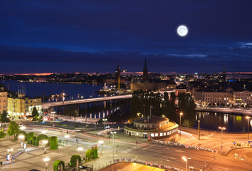 Night scene of the Stockholm at top of Katarina elevator