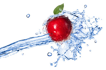 Printed roller blinds Splashing water Red apple with leaf and water splash isolated on white