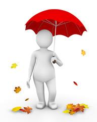Man standing under red umbrella