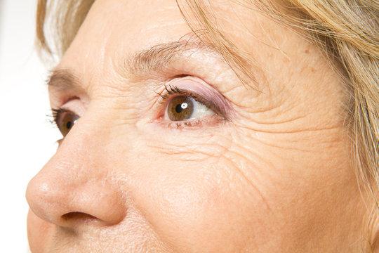 Close up of senior woman's eyes