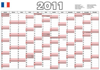 Calendar 2011 with French official holidays