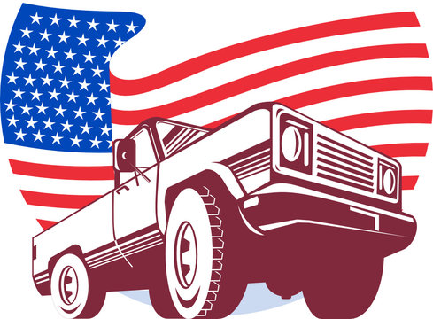 pick-up truck with american flag