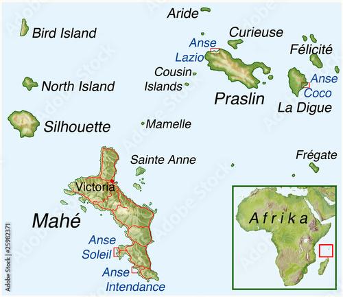 seychellen landkarte Landkarte von den Seychellen
