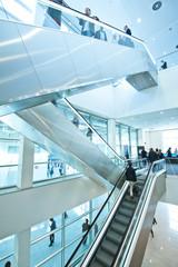 modern moving staircase at a trade fair