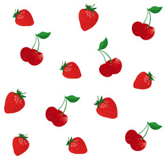 vector background with cherry and strawberry