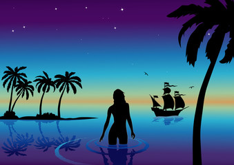 vector illustration with girl and caravel