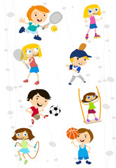 cartoon sport kids