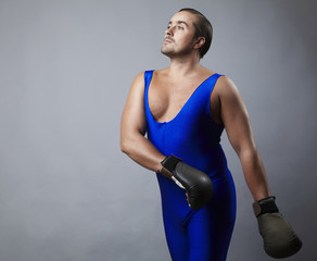 Portrait of boxer stylised under olden time
