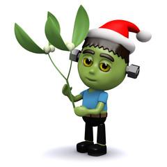 3d Frankenstein celebrates Christmas too