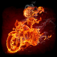 Wall Mural - Burning pumpkin riding a motorcycle