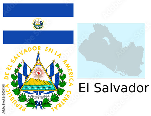 El Salvador Flag National Emblem Map Stock Image And Royalty Free