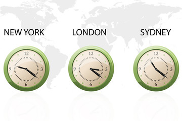 set of clock showing time around the world