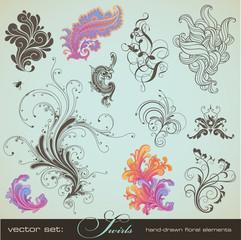 vector set: swirls - handdrawn floral design elements