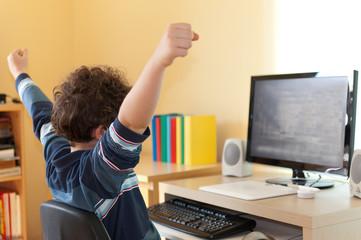 Boy using computer at home
