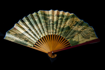 chinese fan, isolated on black background
