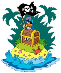Garden Poster Pirates Treasure island with pirate parrot