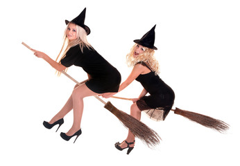 Group Halloween witch blond in black hat fly on broom.