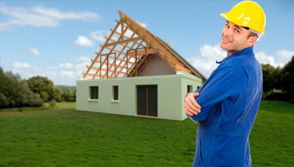 Workman at construction site