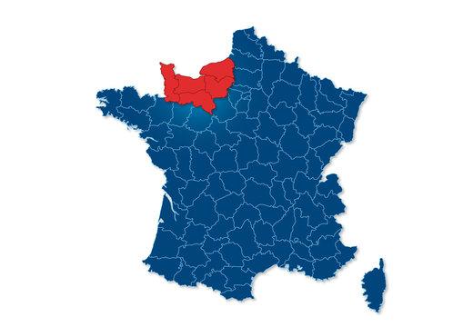 région Normandie, carte France
