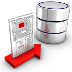 Icon symbolizing a schema import into a database