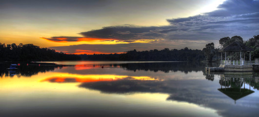 Sunset at the Lake Panorama