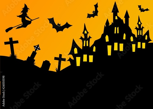 Castello Halloween.Halloween Landscape Castello Streghe E Pipistrelli Stock Photo And