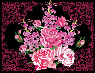 rose flowers in purple curled frame
