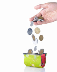 gesture of hand put coin into the wallet