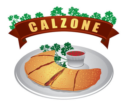 Calzone with parsley and Sauce