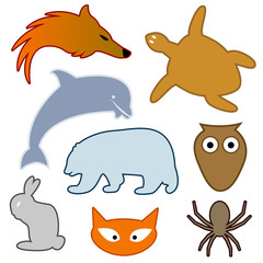 Collection of vector animal silhouettes