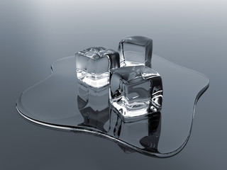 Render of molten ice cubes over a reflective surface