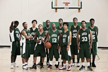 Basketball team in gym