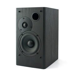 Black wooden loudspeaker isolated on white background