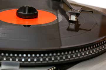 Gramophone vinyl record on player