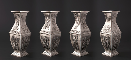 Four egyptian vases isolated on black background