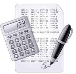 Calculator, pen and and financial report.