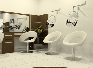 Luxurious interior of a hairdressing salon