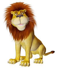 lion cartoon side sit pose