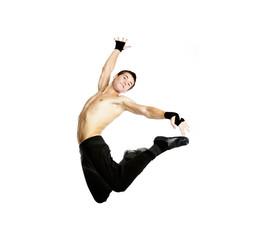 acrobat dancer jumping over white