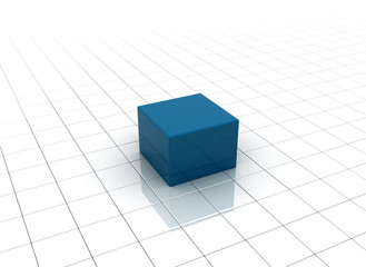Abstract background one blue cube
