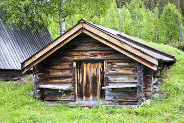 Old traditional wooden cabin in Sweden