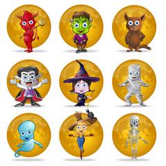 Halloween Full Moon Character Set