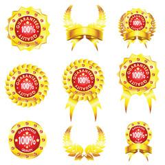 set of golden badges on white background