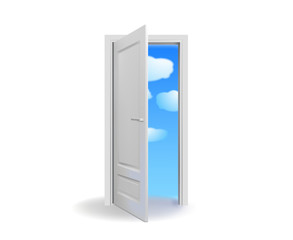 Opened white door with cloudy  sky-vector