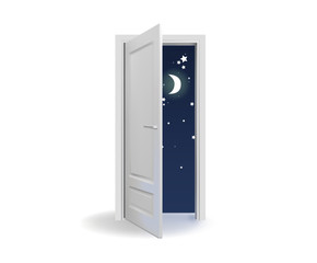 Opened white door with stars and moon