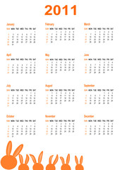 Simple Calendar for year 2011. vector format.