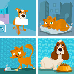 cat and dogs cartoon set