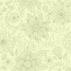 Seamless retro style background with flowers