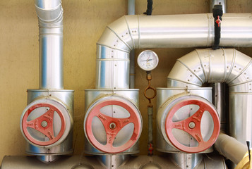 red valves and pipeline